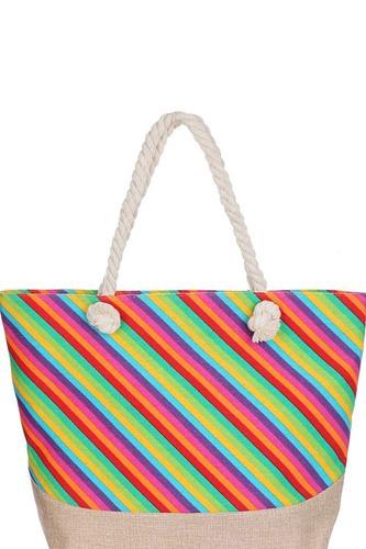 Fashion Rainbow Natural Shopper Bag