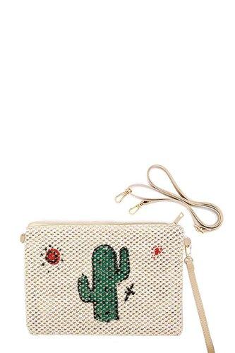 Cute Desert Cactus And Sun Print Straw Pouch Crossbody Bag