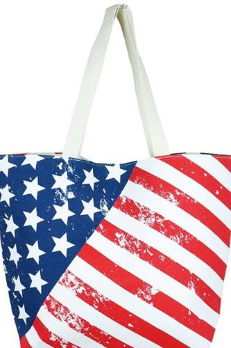 Fashion American Flag Print Canvas Shopper Bag
