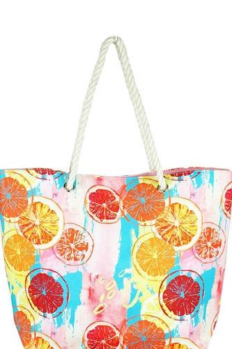 Fashion Citrus Water Color Print Canvas Shopper Bag