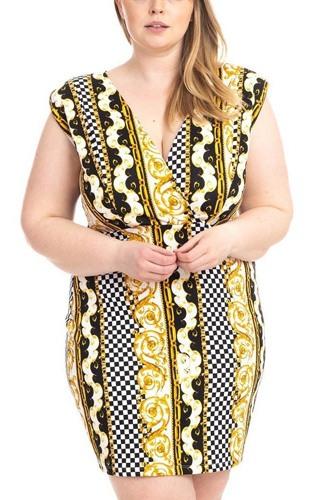 Plus Size Boarder Print  V-neck Bodycon Dress