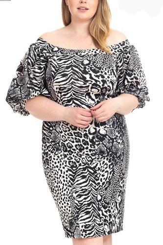 Plus Size  Animal Print Crepe Stretch Bodycon Dress