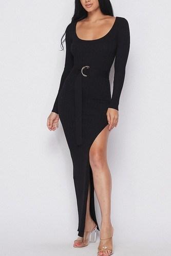 Ribbed Long Sleeve Maxi Dress