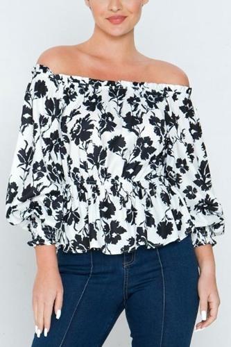 Long Sleeves Off Shoulder Neckline Printed Shirt