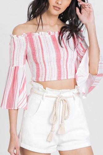 Striped Off-the-shoulder Gauze Crop Top