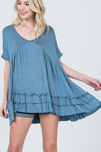 Tiered Ruffle Detail Relaxed Top