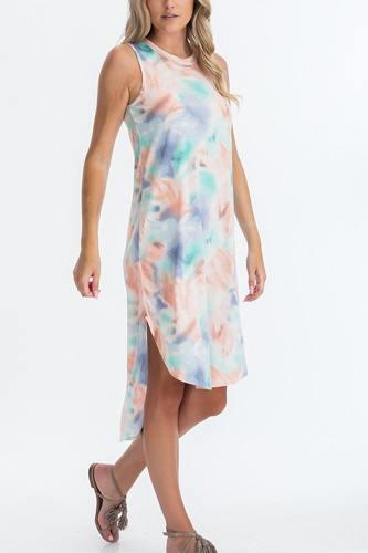 Tie Dye Hi-low Midi Dress