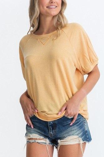 Ribbed Knit Short Sleeve Top