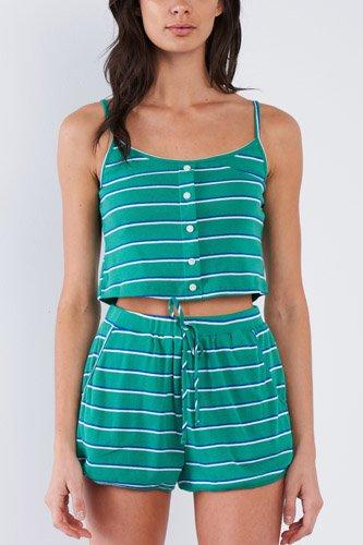 Green Blue & White Stripe Mock Front Button Crop & Casual Mini Short Loungewear Set