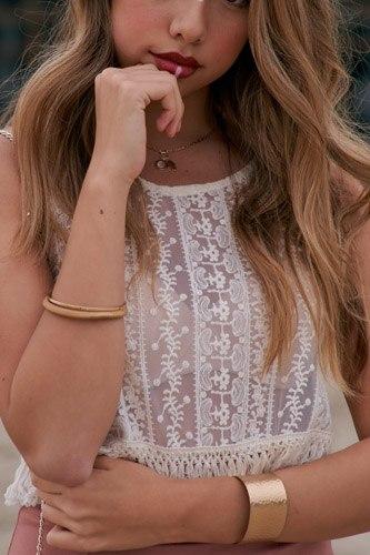 Ivory Bohemian Lace Crochet Sheer Fringe Crop Top