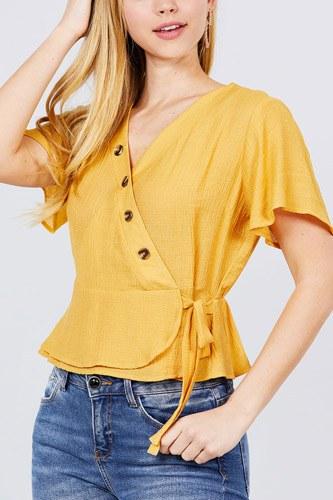 Short Sleeve V-neck Surplice Button Down Detail Ribbon Tie Back Shirring Woven Top