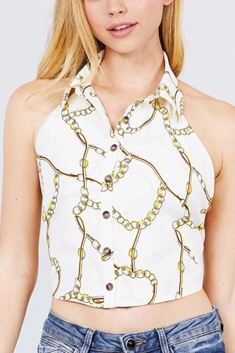 Sleeveless Halter Neck W/collar Button Down Open Back Tie Closer Printed Woven Top