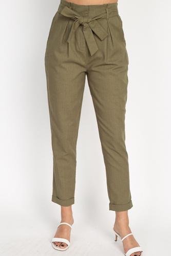 Belted Linen Paper Bag Pants