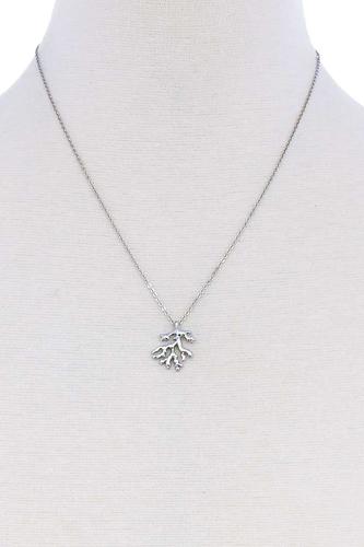 Cute Coral Leaf Pendant Necklace