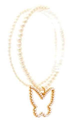 Cute Fashion Butterfly Dangle Pearl Bracelet