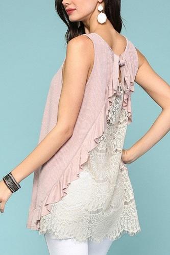 Sleeveless Back Lace Ruffle Detail Tank Top