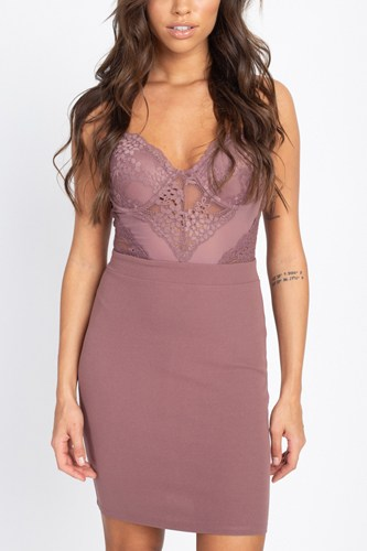 Sheer Crochet Lace Mini Dress