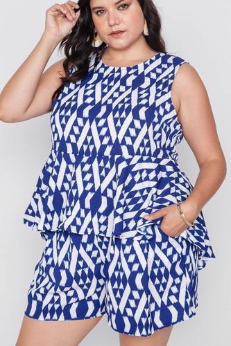 Plus Size Off White Blue Sleeveless Tribal Print Top