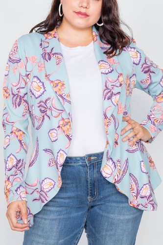 Plus Size Floral Print Blue Round Flounce Hem Blazer