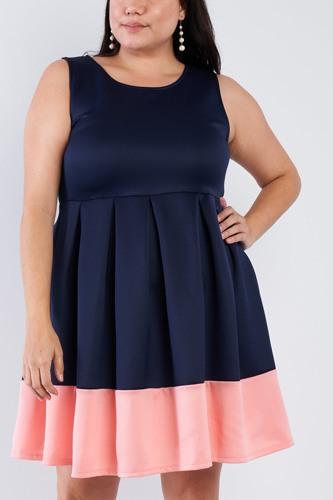 Plus Size Navy Pleated Colorblock Mini Dress