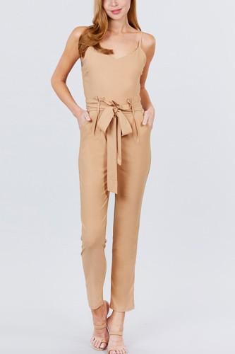 Cami Strap V-neck Belted Tie W/back Zipper Jumpsuit