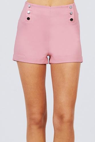 High Waist Button Detail Rolled Up Woven Short Pants