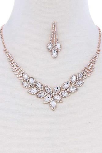 Multi Rhinestone Zircornia Necklace Bracelet And Earring Set