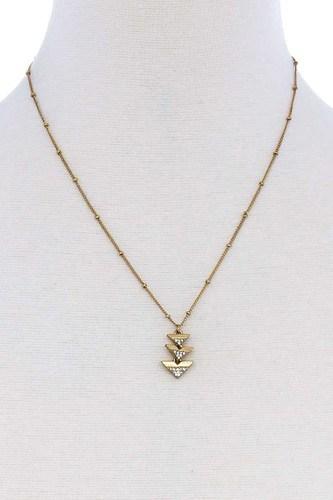Cute Triple Triangle Pendant Necklace