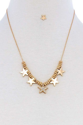 Multi Star Fashion Pendant Necklace And Earring Set