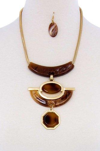 Stylish Acetate Organic Shape Chunky Necklace And Earring Set