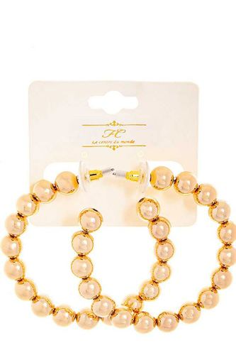 Fashion Ball Bead Hoop Earring