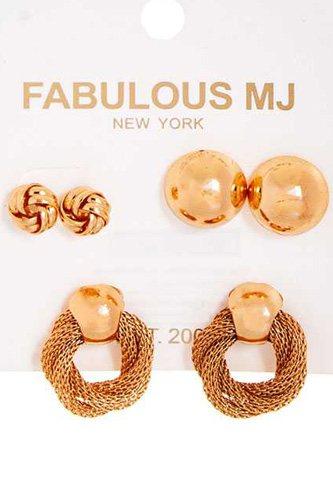 Fabulous 3 Pairs Modern Stud Earring Set