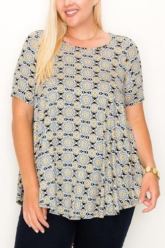 Plus Size Multi Print Tunic Top