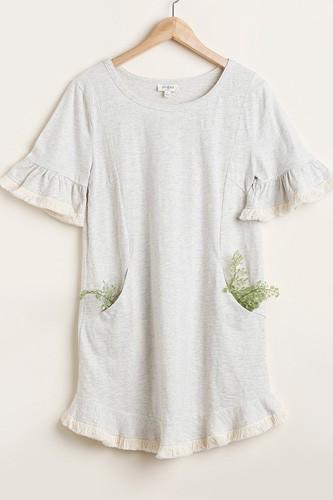 Short Ruffle Frayed Hem And Round Neck Dress With Pockets