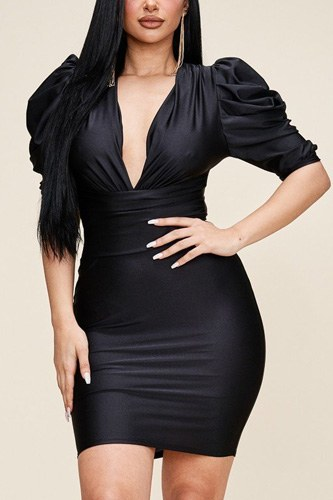 Solid Short Puff Sleeve Dress With Plunged V Neck Line