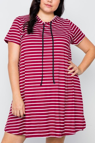 Plus Size Burgundy Stripe Short Sleeve Hooded Shirt Mini Dress