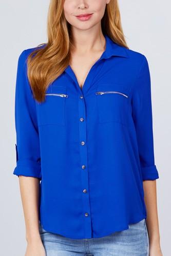 3/4 Roll Up Sleeve Pocket W/zipper Detail Woven Blouse