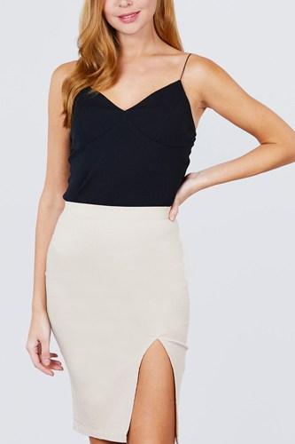 Front Slit Bengaline Midi Skirt