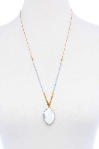 Designer Fashion Beaded And Stone Pendant Necklace