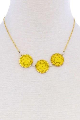 Fashion Triple Circle Pendant Necklace