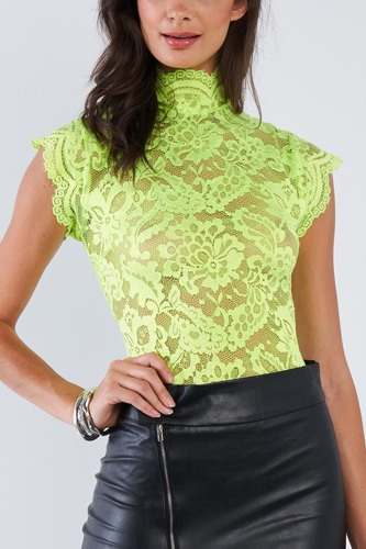 Lace Collared Short Sleeve Corset Back Sexy Bodysuit