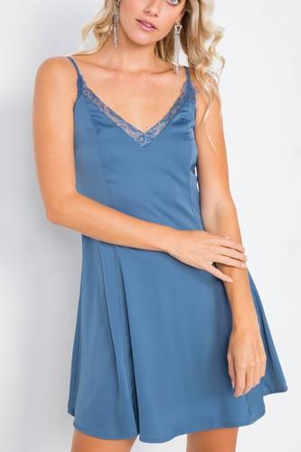 Seafoam Blue V-neck Satin Lace Trim Mini Chic Festival Dress