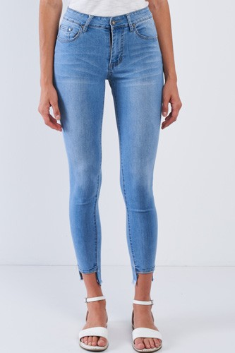 Asymmetrical Fringe Hem Jean Pants