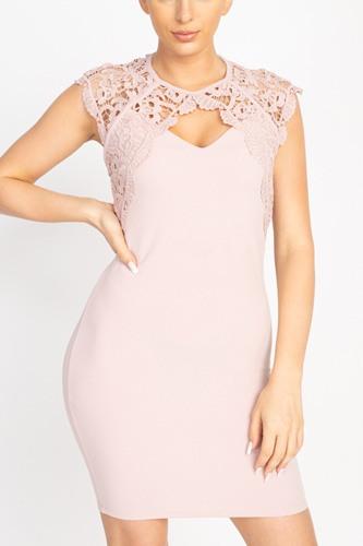 Crochet Lace Cutout Mini Dress