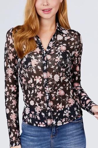 Long Sleeve V-neck W/button Down Print Mesh Knit Shirts