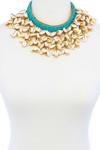 Fashion Multi Sea Shell Chunky Necklace