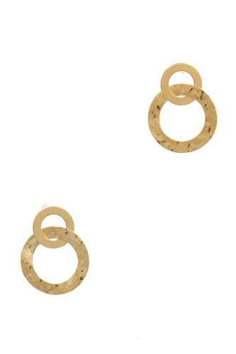 Hammered Metal Double Circle Post Earring