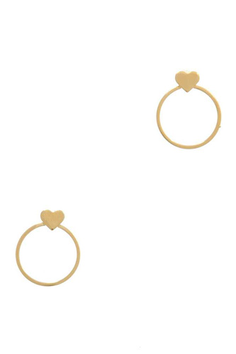 Heart Shape Circle Post Drop Earring