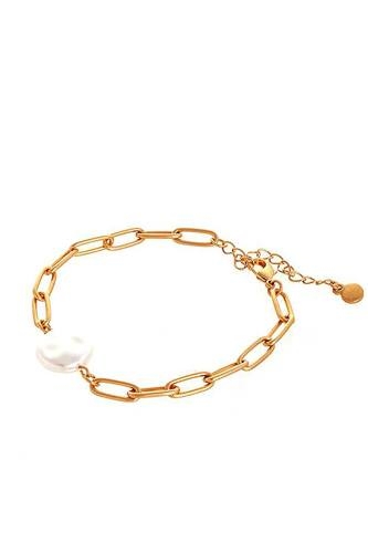 Fashion Clip Chain And Fresh Water Pearl Bracelet