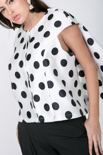 Cascade Ruffle Detail Polka Dot Print Top